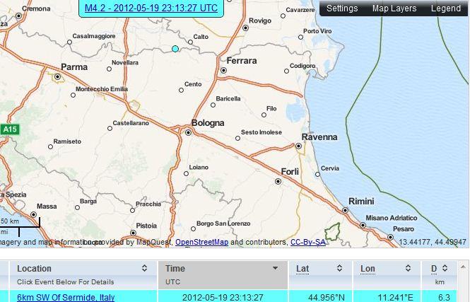 Terremoto a Bologna (Imola) 20 Maggio 2012
