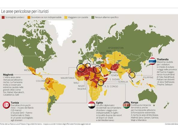 Viminale, diffusa la mappa dei Paesi a rischio per le vacanze estive